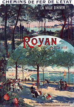 chemins de fer l'état - Royan - illustration de Louis Tauzin - Posters Vintage, Vintage Images, Railway Posters, Travel Posters, Photo Illustration, Photos, Retro, World, City