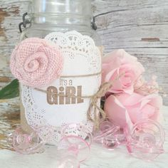 DIY Baby Shower Decorations, 5 Burlap Jar Wraps, It's a Girl Baby Shower Centerpiece, Mason Jar Centerpiece Idea,  DIY Baby Shower Gifts