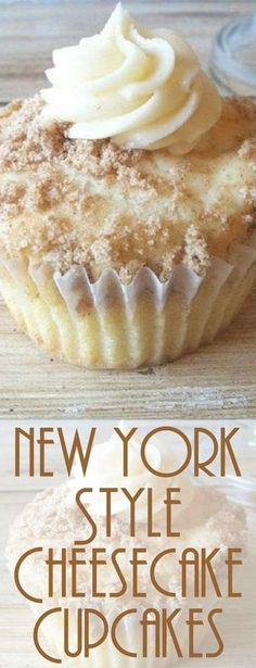 Recipe for New York Style Cheesecake Cupcakes When I make these New York Style Cheesecake Cupcakes people just RAVE about them! The crumbled graham crackers sprinkled on top add the flavor of a cheesecake base. No Bake Desserts, Just Desserts, Delicious Desserts, Dessert Recipes, Gourmet Desserts, Easter Recipes, Plated Desserts, Drink Recipes, Seafood Recipes