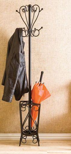 Iron Coat Rack Hanger Tree Umbrella Stand Hallway Hat Metal Scrolled Black Home