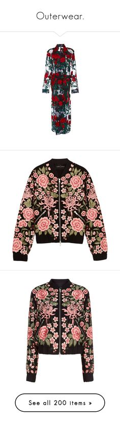 """""""Outerwear."""" by plaraa on Polyvore featuring outerwear, coats, floral, oversized coat, trench coat, sheer trench coat, white trench coat, white coat, jackets y bomber jacket"""