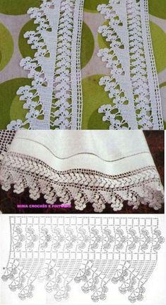 Crochet Edging Patterns, Filet Crochet Charts, Crochet Lace Edging, Crochet Borders, Crochet Diagram, Crochet Doilies, Crochet Stitches, Knitting Patterns, Crocheted Lace