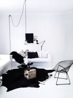 .Interior inspiration of a cowhide rug in room interior, buy similar (many colour options) from www.cowhiderugsonline.com.au Australia