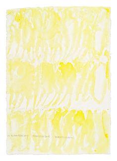 Quarante-quatre levers de soleil, (44 x 90 ans. 44 x 30 jours. 44 x 12 mois)  (Saint-Cyr-L'École,2016)  Suite de 44 aquarelles 41 x 29,08 cm chacune   Gouache, encre de chine jaune, acrylique, eaux sur papier coton recyclé fait à la main Rag 210 g (Inde du Sud)   Photo: Aurelien Mole