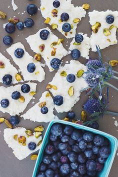 Image: Tone It Up Healthy Blueberry Coconut Bark Recipe. #blueberry #blueberrybark #blueberrycouncil