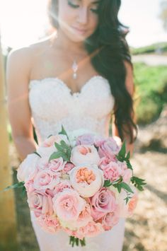 Blush bridal bouquet // Bouquet: Stephanie Grace Designs // Vis Photography // http://www.theknot.com/submit-your-wedding/photo/dfc4e81b-1765-44d3-9013-c5548b947a37/Meet-The-Schneiders-Saddlerock-Ranch-Malibu-California-Wedding