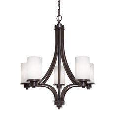 Artcraft Lighting Parkdale 24-in 5-Light Oil Rubbed Bronze Shaded Chandelier