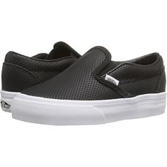 new product fd554 7d536 Vans kids classic slip on toddler black perf leather