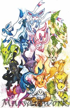 Pokemon Go, Pikachu, Pokemon Stuff, Shiny Vaporeon, Pokemon Eevee Evolutions, Anime Animals, Watercolor Print, Furry Art, Game Art