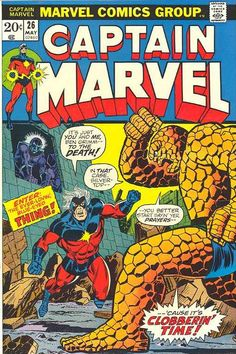 Captain Marvel 26 with the Thing by Jim Starlin. Yeah, clobber him, Thing! little, lurking Thanos. Marvel Comics Superheroes, Marvel Comic Books, Comic Book Heroes, Comic Books Art, Comic Art, Best Comic Books, Comic Book Artists, Comic Book Characters, Marvel Characters