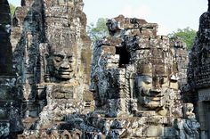 Angkor Thom - Cambodia  I loved this temple because the faces look just like my sister. The classic Cambodian features that these ancient people revered enough to immortalize them in stone.