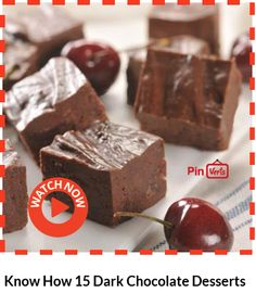 15 Dark Chocolate Desserts Being on a healthy diet luckily doesn't also mean a no dessert diet, it just means that the desserts you will be preparing should be low-fat and with healthy ingredients. These delicious recipes that will surely catch your attention. Check it out at http://www.everycommerce.com/recipe/008-Know-How-15-Dark-Chocolate-Desserts_uhm48u8.htm