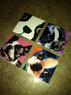 Boston Terrier Drink Coasters Set of 4 by SherrysStock on Etsy, $32.00