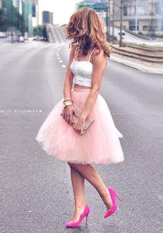 Pink Plain Draped Grenadine New Fashion Latest Women Puffy Tulle High Waisted Knee Length Adorable Tutu Skirt