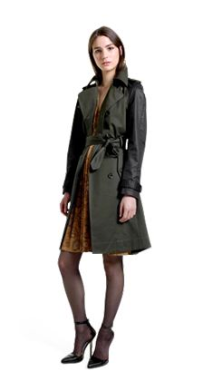 Altuzarra for Target: Trench Coat in Military Green & Black – Dress in Python Print – Ankle Strap Shoes in Black.