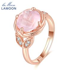 LAMOON Flower Wedding Rings Natural Pink Rose Quartz 925 Sterling Silver Adjustable Rings For Women Fine Jewelry Gift LMRI016