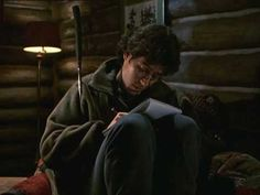 """Joel writes a letter to a New York friend, """"I feel very lucky to be here. Very, very, very lucky."""" From """"Lost and Found,"""" Best Television Series, Northern Exposure, Lost & Found, Season 3, Favorite Tv Shows, Alaska, All About Time, Feels, Lettering"""
