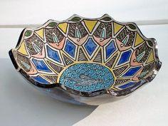 ceramic stoneware pottery bowl hand carved bird ceramic art