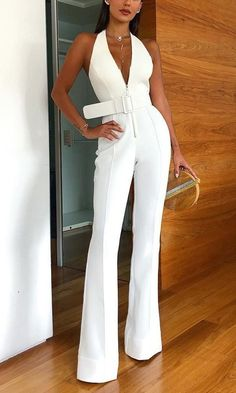 Description Product Name Sexy Deep V Sleeveless Halter Jumpsuit Brand Emmastars SKU Material Polyester Occasion Date/Vacation/Daily Life Style Casual Gender Women Product no. Please Note All dimensions are measured manually with a deviation of 1 to Halter Jumpsuit, White Jumpsuit, Halter Outfit, Jumpsuit Outfit, White Outfits, Classy Outfits, Summer Outfits, Casual Outfits, Fashionable Outfits