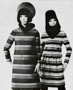 Pierre Cardin A/H Mannequins Hiroko Matsumoto et Mom Srey Nean. Mod Fashion, 1960s Fashion, Unisex Fashion, Classic Fashion, Vintage Fall, Vintage Coat, Pierre Cardin, 1960s Outfits, Vintage Outfits