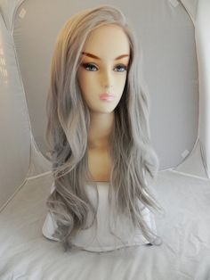 SALE // Lace Front Wig Silver Grey Hair Long Wavy by ExandOh, $74.80