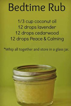 Bedtime Rub recipe.  Another recipe lists 10 drops of each + 1 tsp. of Vitamin E oil, too.Rub on legs and feet at bedtime.