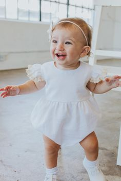 2d339d37e642 the cutest white and ivory lace bubble romper for baby s first birthday  photoshoot and cake smash
