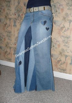 Classic Striped Long Jean Skirt Custom to Your by CustomJeanSkirts