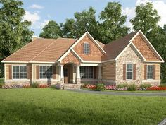 Craftsman Ranch Home Plan, 019H-0190