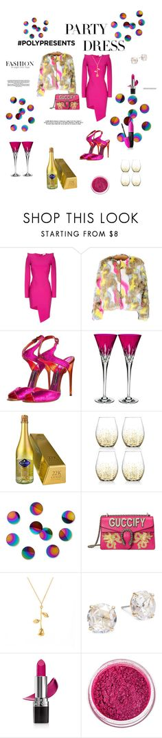 """""""#PolyPresents: Party Dresses"""" by sadorepink ❤ liked on Polyvore featuring Thierry Mugler, Tom Ford, Waterford, Jay Import, Umbra, Gucci, Kate Spade, Avon, Manic Panic NYC and Revlon"""