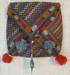 An embroidered make-up bag from Ghazni, Afghanistan (item detailed views) Indian Textiles, Satin Stitch, Quilted Bag, Brick Stitch, Green Cotton, Fabric Art, Green And Brown, Afghanistan, Purses And Bags