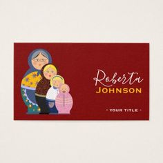 Russian Doll Matryoshka Fashion Designer Stylist Business Card - stylist business cards cyo personalize businesscard diy
