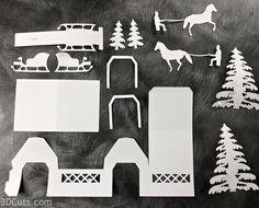 Tea Light Village - Covered Bridge — 3DCuts.com Christmas Town, Christmas Villages, Christmas Paper, Christmas Decor, Xmas, Christmas Tree Village Display, Winter Window Display, Putz Houses, Village Houses