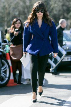 Miroslava Duma, street style during Paris fashion week FW 2015, black peg pants, blue coat.