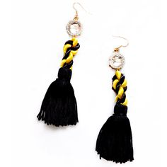 Black mix Yellow Fringe Earring, designed and made by HK designers Chilanta & Fa. Black and yellow symbolizes the danger, when walking with the fringe, it shows dynamic and charming, add with the mirror decorative, very impressive. Size: 12cm (H). Price $22