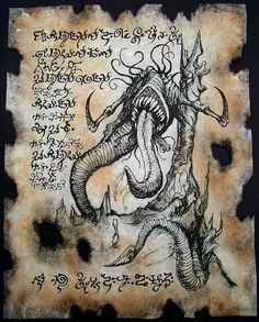 DEVOURING DEMONS cthulhu larp Necronomicon Fragment door zarono, www. Necronomicon Lovecraft, Lovecraft Cthulhu, Hp Lovecraft, Larp, Cthulhu Art, Call Of Cthulhu, Arte Horror, Horror Art, Lovecraftian Horror