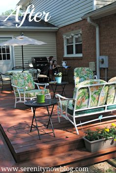 Serenity Now: Updating Our Deck (Mini Outdoor Makeover)  great tips!