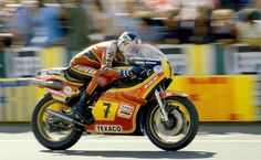 Le Mans, France, 1979– Barry Sheene on his factory Heron Suzuki 500 at the French Grand Prix.