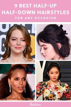 9 Half-Up, Half-Down Hairstyles for Any Occasion Cute Braided Hairstyles, Quick Hairstyles, African Hairstyles, Celebrity Hairstyles, Down Hairstyles, Girl Hairstyles, Wedding Hairstyles, Half Up Curls, Half Up Half Down Hair