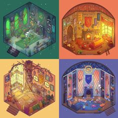 Hogwarts common rooms by evergreenqveen - Harry potter - Fanart Harry Potter, Harry Potter World, Magie Harry Potter, Classe Harry Potter, Cute Harry Potter, Theme Harry Potter, Harry Potter Drawings, Harry Potter Wallpaper, Harry Potter Characters