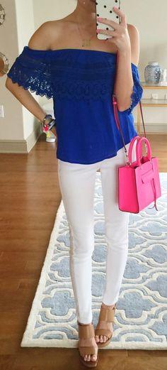 Indigo Blue Off Shoulder Top Outfit Idea