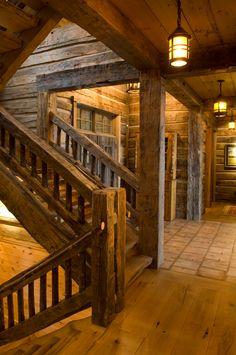 41 rustic log cabin homes design ideas Timber Frame Homes, Timber House, Timber Frames, Rustic Stairs, Wood Stairs, Cabin In The Woods, Log Cabin Homes, Log Cabins, Rustic Cabins