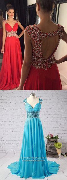 Long Formal Dresses Red, A Line Prom Dresses for Teenagers, Chiffon Military Ball Dresses Open Back, V Neck Graduation Dresses With Beading #formaldressaustralia #reddress #openbackdress #pageantdress