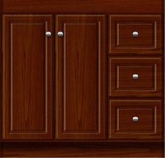 """36"""" wide Montlake View Ultraline chocolate oak vanity with side drawers on the right. 34½"""" tall, 21"""" or 18"""" wall-to-front (doors add ¾"""")."""