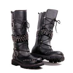Star Style European Rock Singer Motorcycle Tall Boots Men Fashion Punk Rivets Boots Male Stage Performance Boots Shoes