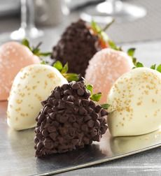 Fannie May Love & Romance Chocolate Strawberries   $34.99-$59.99  Shipped in a Gift Box    Love comes in the form of luxuriously decadent strawberries, all hand-dipped in real chocolate and sprinkled with a little extra goodness!In this delicious collection,