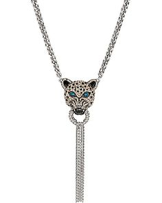 WHITEOUT CRYSTAL SNOW LEOPARD CHAIN TASSEL NECKLACE
