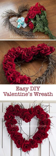 DIY Valentine Wreath that is so easy to make and oh so pretty                                                                                                                                                                                 More