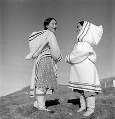 framingcanada:  Two unidentified Inuit women. Unknown Location, N.W.T. [Nunavut?], July 1951 Credit: Wilfred Doucette / National Film Board ...