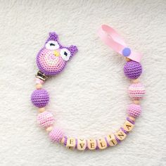 Dummy holder  personalized pacifier clip with owl.